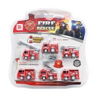Sada auta hasiči na natažení 6 ks , Barva - Červená