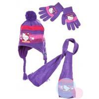 Šál, čiapka a rukavice Hello Kitty , Velikost čepice - 54 , Barva - Fialová