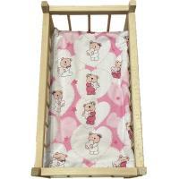 Matrace do postýlky pro panenky Medvídek srdíčka , Barva - Ružová