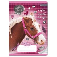 Sešit A5 koně čtverečkovaný , Barva - Ružová
