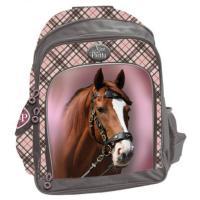 Školní batoh Hnědý kůň , Barva - Šedo-růžová