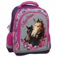 Školní batoh Koně , Barva - Šedo-růžová