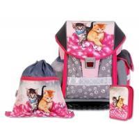 ŠKOLSKÝ batohová SET ERGO TWO CATS & MICE 3-dielny , Barva - Šedo-růžová