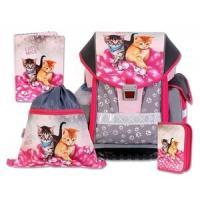 ŠKOLSKÝ batohová SET ERGO TWO CATS & MICE 4-dielny , Barva - Šedo-růžová