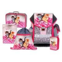 ŠKOLSKÝ batohová SET ERGO TWO CATS & MICE 5-dielny , Barva - Šedo-růžová