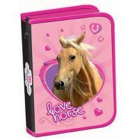 Penál Love Horse jednopatrový , Barva - Ružová