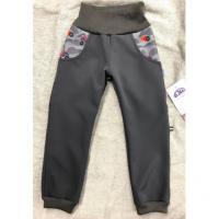 Softshellové kalhoty s fleecem Auťák , Velikost - 134 , Barva - Šedá