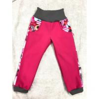 Softshellové kalhoty s fleecem Bombonky lampas , Velikost - 134 , Barva - Ružová