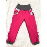 Softshellové kalhoty s fleecem Bonbonky lampas , Velikost - 98 , Barva - Ružová