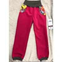 Softshellové kalhoty s fleecem Motýlci , Velikost - 98 , Barva - Ružová
