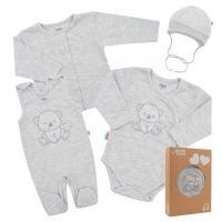 Soupravička do porodnice New Baby Sweet Bear , Velikost - 50 , Barva - Šedá