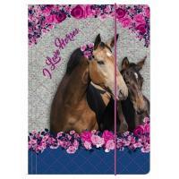 DESKY NA SEŠITY A4 Koně , Barva - Tmavo ružová