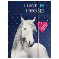 DESKY NA SEŠITY A4 Koně , Barva - Tmavo modrá