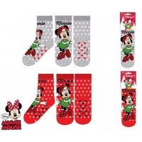 PONOŽKY MINNIE vánoce , Velikost ponožky - 23-26 , Barva - Červená