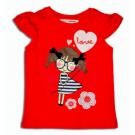 Tričko Dievča , Barva - Červená , Velikost - 80