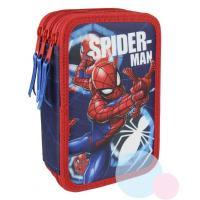 PENÁL SPIDERMAN  třípatrový , Barva - Modro-červená