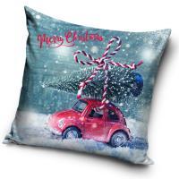 Vánoční povlak na polštářek Už jedeme , Barva - Modrá , Rozměr textilu - 40x40