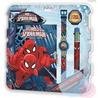 Zápisník, hodinky a prepisovačka Spiderman , Barva - Modrá