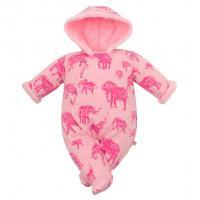 Kombinéza s kapucí Baby Service Sloni , Barva - Ružová , Velikost - 56